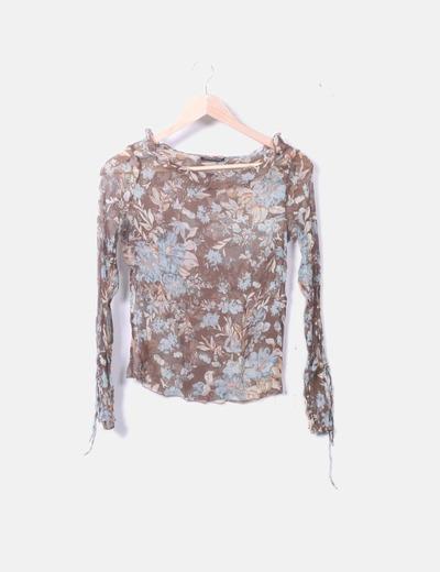 Camiseta de gasa con print floral