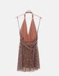 Vestido marrón con paillettes cuello halter NoName