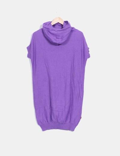 Top tricot con capucha en color morado