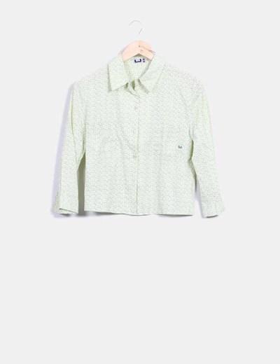 Camisa verde lima estampada Adolfo Dominguez