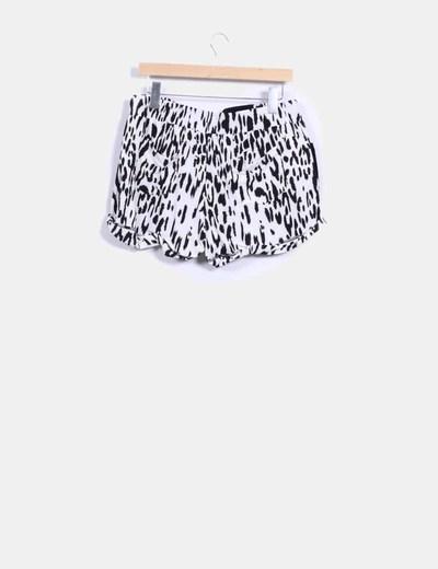 Shorts combinado terciopelo negro con cremallera