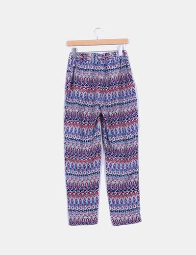 Pantalon baggy estampado etnico azul