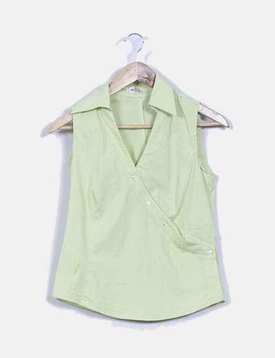 Camisa verde sin mangas botones cruzados Woman Borsache