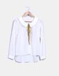 Camisa blanca con lazo mostaza Kling