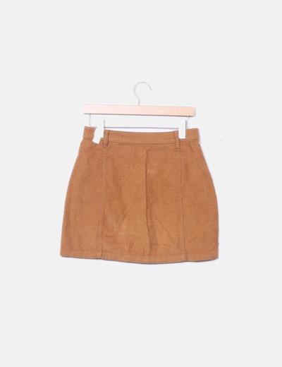 faeca4771 Falda marrón de pana botones