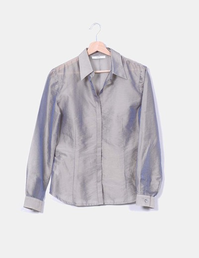 Blouse grise perlada transparente CeDosCE