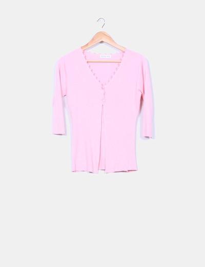 Chaqueta tricot canalé rosa manga francesa Bleu inc.