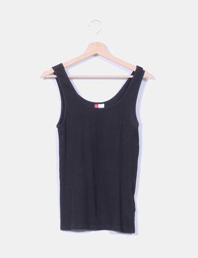 Camiseta básica negra de canalé H&M