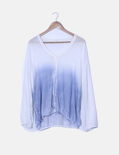 Cardigan tricot azul y blanco