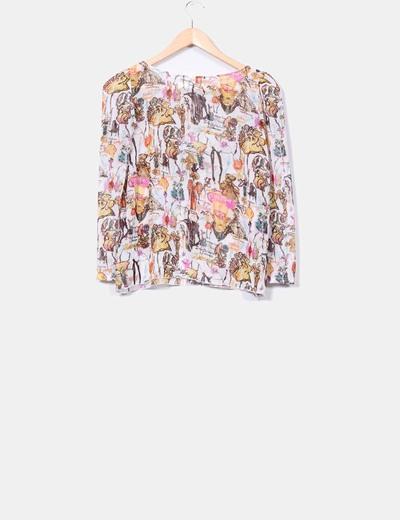 Blusa semitransparente estampada