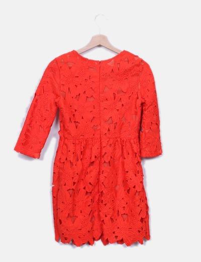 Vestido rojo crochet floral