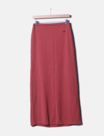 Falda maxi tricot rosa
