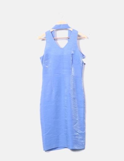 Vestido halter azul irisado