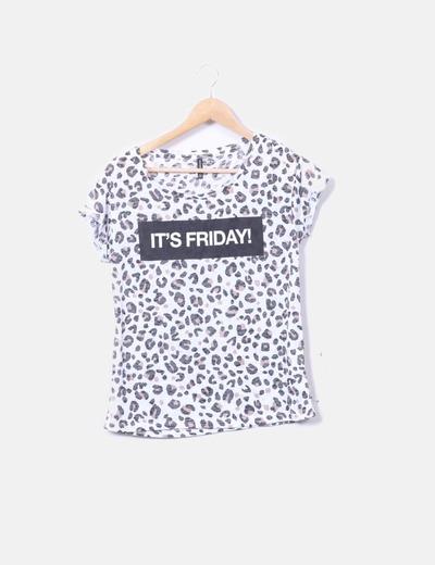 Camiseta blanca animal print