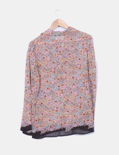 Blusa multicolor de seda