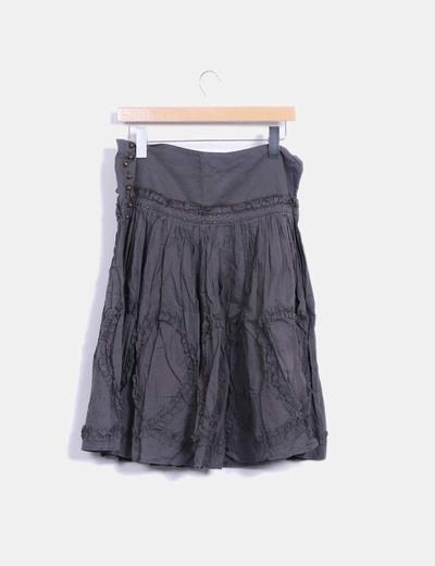 Falda midi kaki con strass