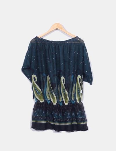 Blusa verde con dibujo étnico y goma en la cintura NoName
