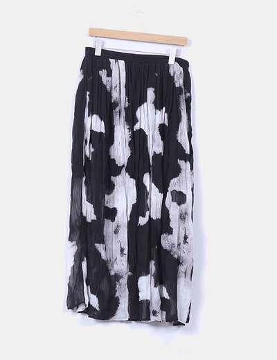 Falda estampada negra y blanca NoName