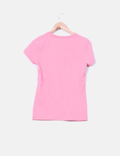 Camiseta fucsia print mono