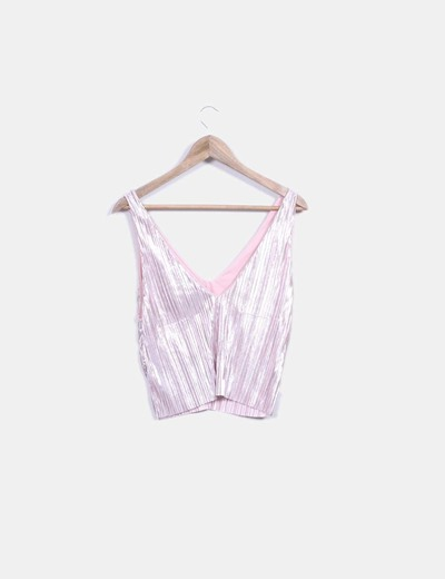 Crop top plisado rosa irisado