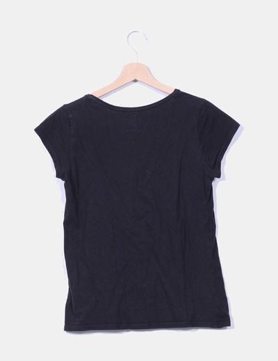 Camiseta Negra Micolet Mujer 93 Zara descuento Print 8Oqnpw