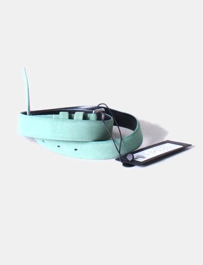 Cinturón serraje verde mint Selected