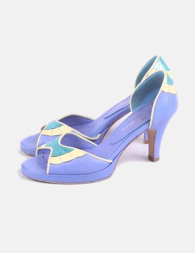 Zapato de tacón azul combinado peep toe