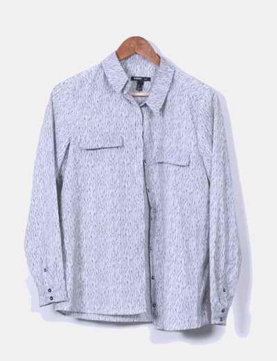 Blusa  blanca y negra de rayas  Mango