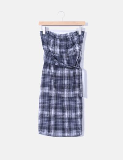 Bershka Ärmelloses graues Karo-Kleid (Rabatt 97 %) - Micolet 7e5a6e279e