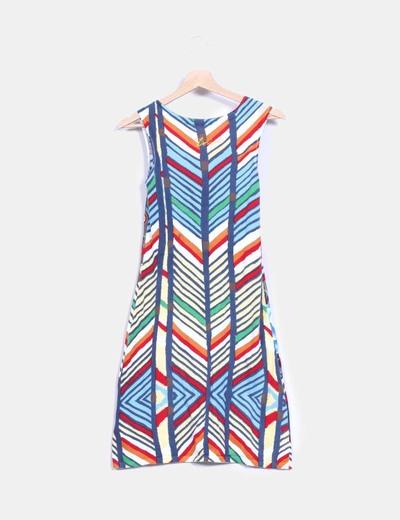 Vestido tricot multicolor manga corta