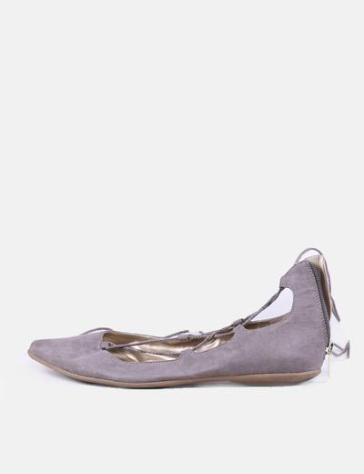 Bailarinas grises cordón BCBG