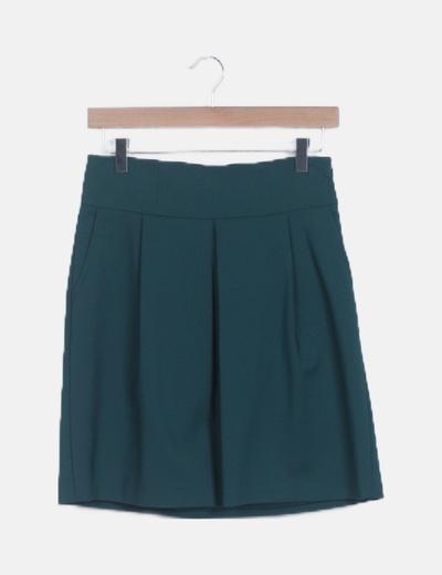 Mini falda verde botella plisada
