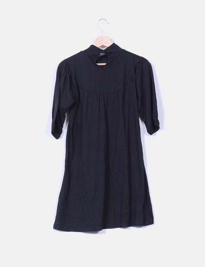 Vestido negro manga francesa con lazo