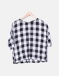 Blusa de cuadros manga corta Zara