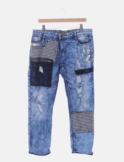 Pantalón denim combinado pitillo print
