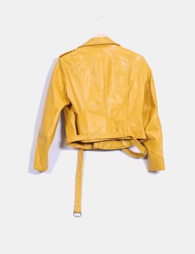Veste en cuir zara femme jaune