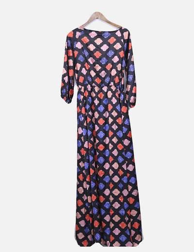 Vestido floral maxi satinado