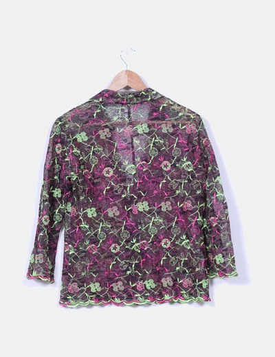 Conjunto de chaqueta y falda multicolor