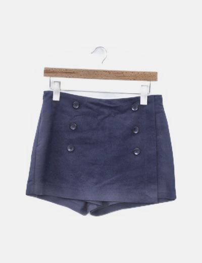 Falda pantalón azul marina con botones