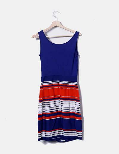 Vestido tricolor con rayas
