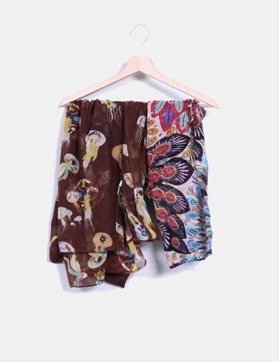 Conjunto de pañuelos con estampado multicolor NoName