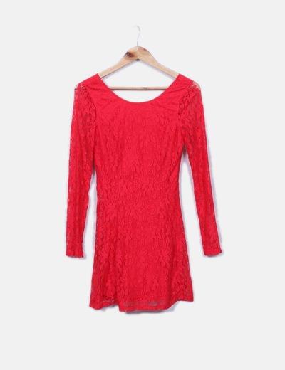 Fluid dress red lace NoName