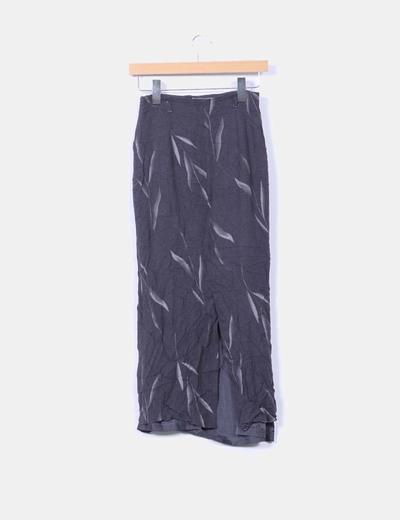 Falda gris estampado con fooro