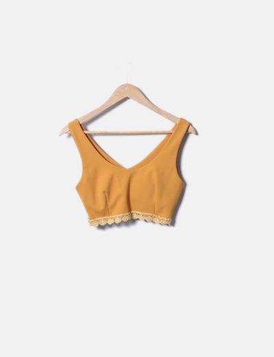 Top crochet mostarda detalhe NoName
