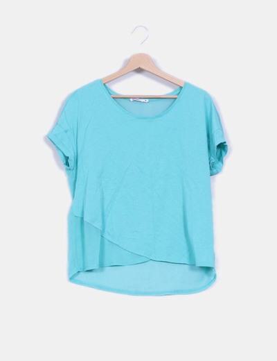 Camiseta oversize turquesa doble textura Lefties