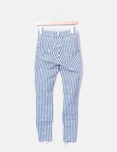 788e6113c Jeans denim pitillo rayas azules