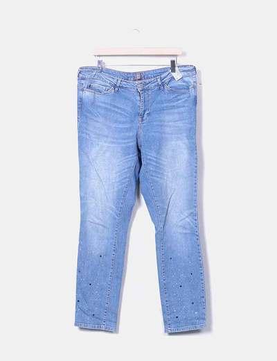Jeans azul claro strass Junarose
