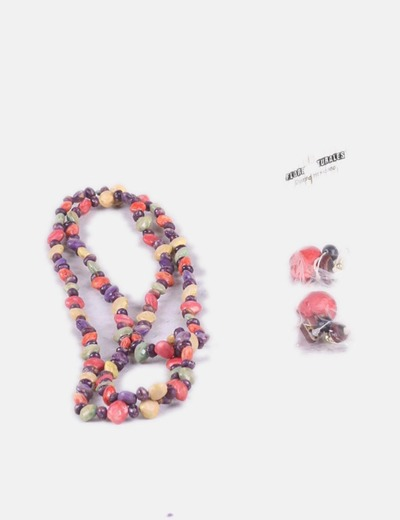 Set of necklace and colored earrings NoName