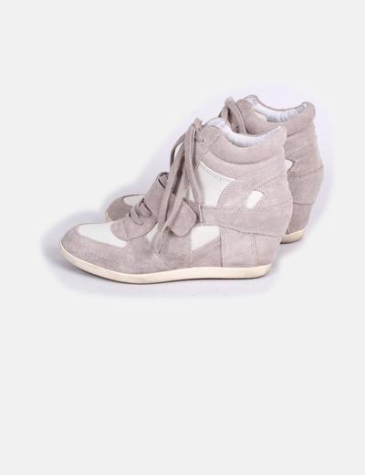 Sneakers de cuña beige Antea