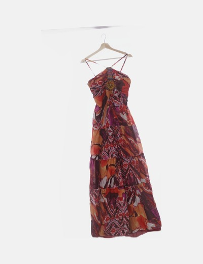 Maxi vestido multicolor con abalorios
